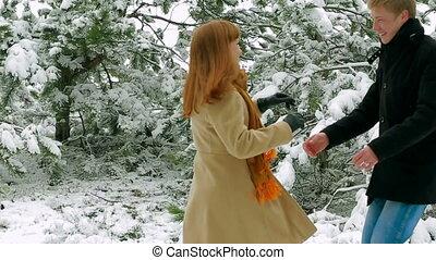 neigeux, couple, parc, jeune, dater, heureux