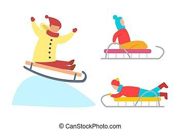neigeux, glace, bas, vecteur, pentes, enfants, sledding