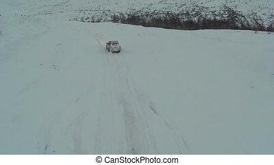 neigeux, hiver, route, conduite