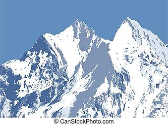 neigeux, hiver, sommets montagne