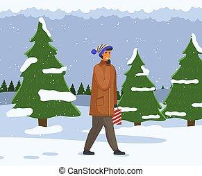 neigeux, neige, promenades, sapin, sourire, paysage, route, ...
