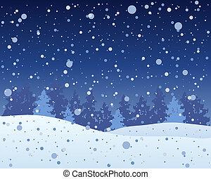 neigeux, nuit