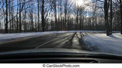 neigeux, paysage, conduite, voiture