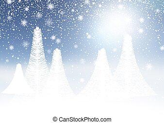 neigeux, paysage, hiver, 1009