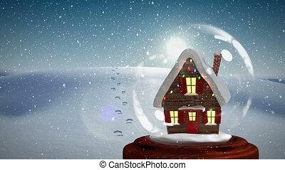 neigeux, paysage, maison, 4k, noël, animation
