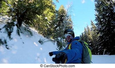 neigeux, skieur, ski, colline, bas, 4k