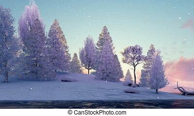 neigeux, surgelé, scénique, coucher soleil, 4k, rivière, sapins