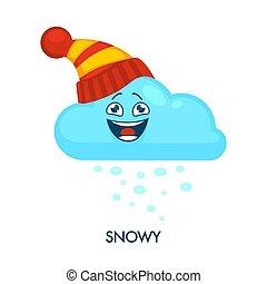 neigeux, symbole, tricoté, temps, chapeau, nuage, heureux