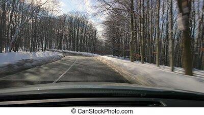 neigeux, voiture, conduite, paysage