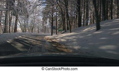 neigeux, voiture, paysage, conduite