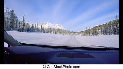 neigeux, voiture, route, conduite, 4k