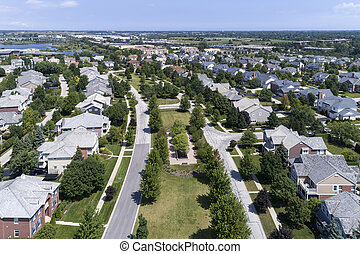 Neighborhood Aerial View With Parkway