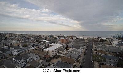 Neighborhood between suburban bay area on aerial view point drone of Seaside Heights Bay NJ US