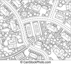 Editable vector cutout map of a generic residential area with background shadow made using a gradient mesh