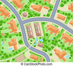 Neighborhood - Editable vector map of a generic residential...