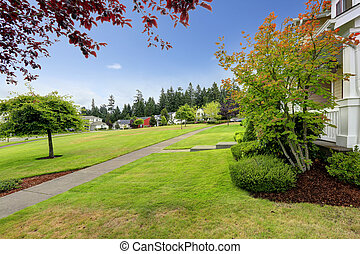 Neighborhood in Seattle during summer time