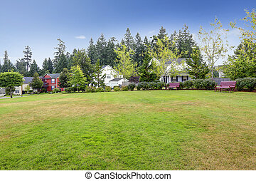 Neighborhood in Seattle during summer time. Outdoor rest area wi