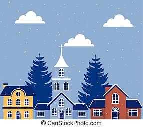 neighborhood in winter landscape scene
