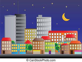 neighborhood night - illustration of neighborhood of city of...