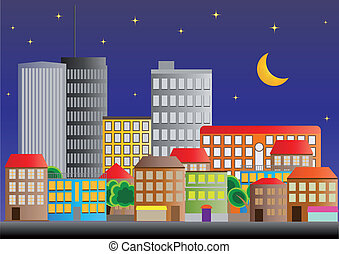 neighborhood night - illustration of neighborhood of city of...