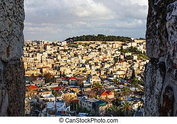 Neighborhood on the hillside in Jerusalem, Israel.