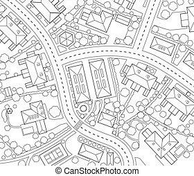 Neighborhood outline - Editable vector outline map of a...