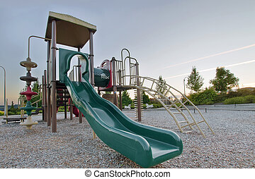 Neighborhood Public Park Children's Playground Gym Structure in Suburban Area