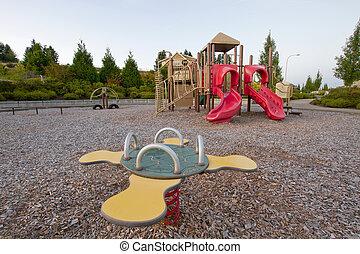 Neighborhood Public Park Children's Playground in Suburban Area