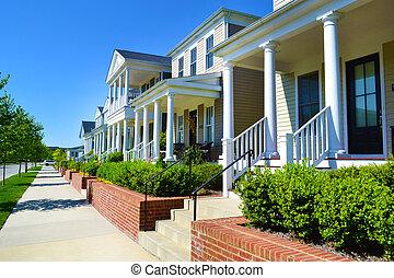 Row of houses in a neighborhood
