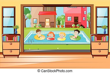 Neighborhood scene with kids in the pool