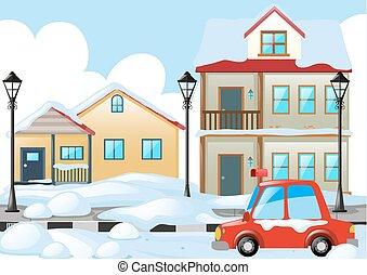 Neighborhood scene with snow on the ground