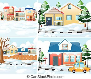 Neighborhood scnes with houses in winter