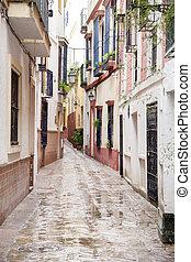 neighborhood;, seville, cruz, straat, kerstman, typisch