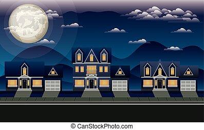 neighborhood street with houses at night scene