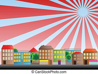 neighborhood sunburst - illustration of neighborhood of city...