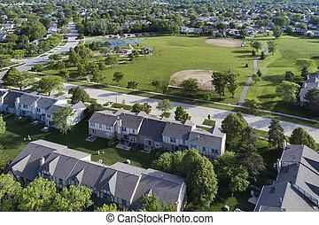 Neighborhood Townhouse Playground Aerial