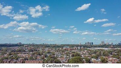 neighborhood., vue aérienne, hyperlapse, toronto