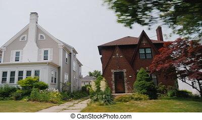 neighborhood., vue, long, fenêtre, typique, cavalcade,...