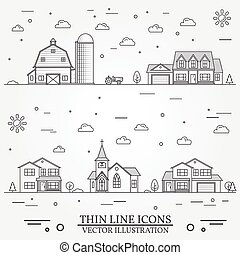 Neighborhood with buildings illustrated on white