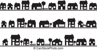 Neighborhood with homes illustrated on white
