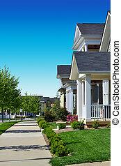 Brand new neighborhood with sidewalks
