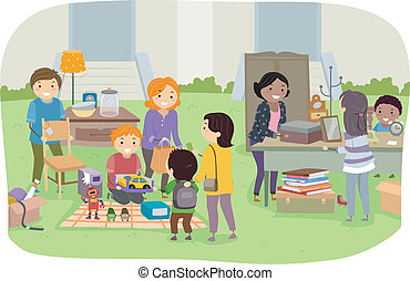 Neighborhood Yard Sale - Illustration Featuring Families...