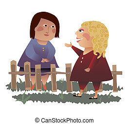 Neighbors across the fence - Two women talking over the...