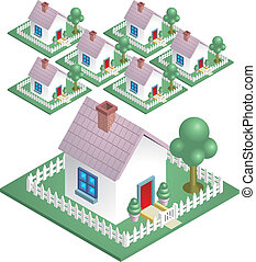 A cute house with a picket fence, easily arranged to represent a neighbourhood.