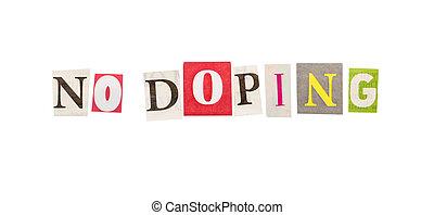 nein, doping, inschrift, gemacht, von, ausschneiden, briefe