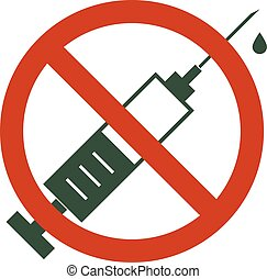 nein, drogen, verboten, -, verbotsschild, drug., allowed., spritze, circle., rotes , ikone