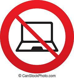 nein, laptop, symbol., zeichen, pc, notizbuch, icon.