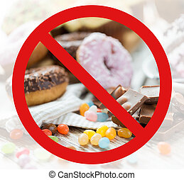 nein, symbol, auf, kakau, süßigkeiten, hinten, schließen