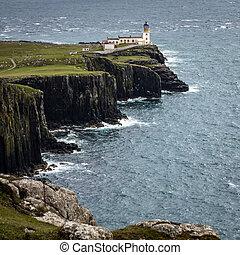 Neist Point Lighthouse on the Isle of Skye in Scotland.