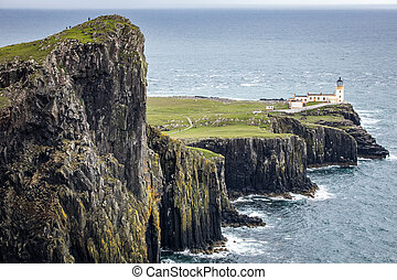Neist Point Lighthouse on the Isle of Skye in Scotland.